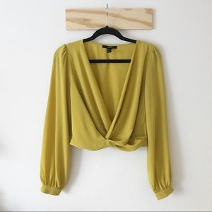 Forever 21 Yellow Twist Blouse Top